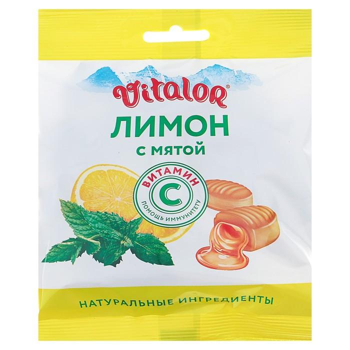 Леденцовая карамель «Виталор» Лимон с мятой с витамином С, 60 г.