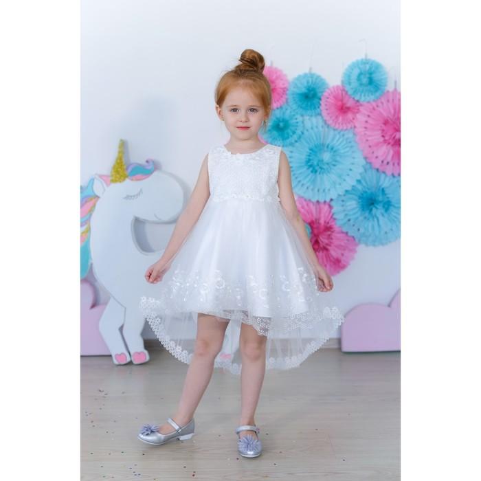 Платье нарядное для девочки MINAKU «Анабелль», рост 134 см, цвет белый
