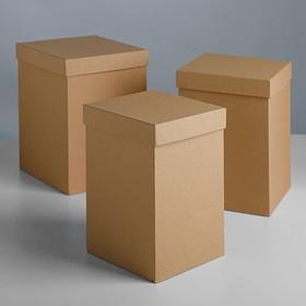 "Набор коробок 3в1 ""Крафт"", 18 х 18 х 25 - 15 х 15 х 23 см"