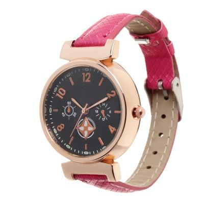 Часы наручные, d=3,5см золотые,розовый ремешок 12мм