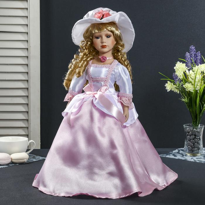 """Кукла коллекционная керамика """"Леди Магнолия в розовом платье в соломенной шляпке"""" 40 см"""
