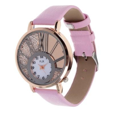 """Часы наручные женские """"Лоск"""", циферблат d=3.8 см, розовый ремешок из экокожи 20х2.2 см"""