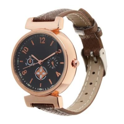 Часы наручные, d=3,5см золотые,коричневый ремешок 12мм