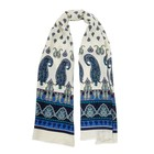 Шарф женский C1108 1924-4 цвет синий/молочный, р-р 40х140