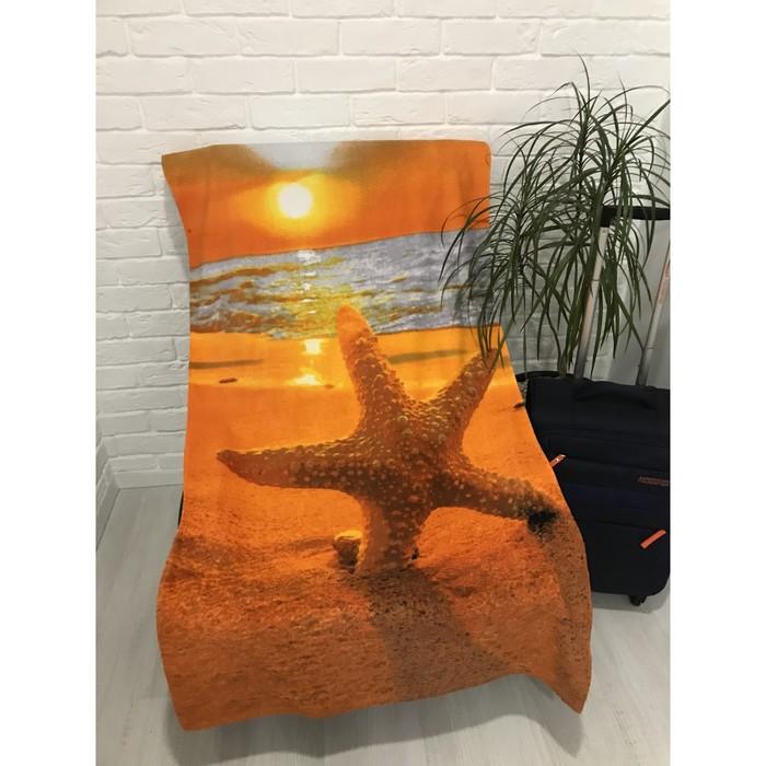 Полотенце пляжное махровое ПАВЛИНА Тропический закат 70х140 см, хлопок 100%