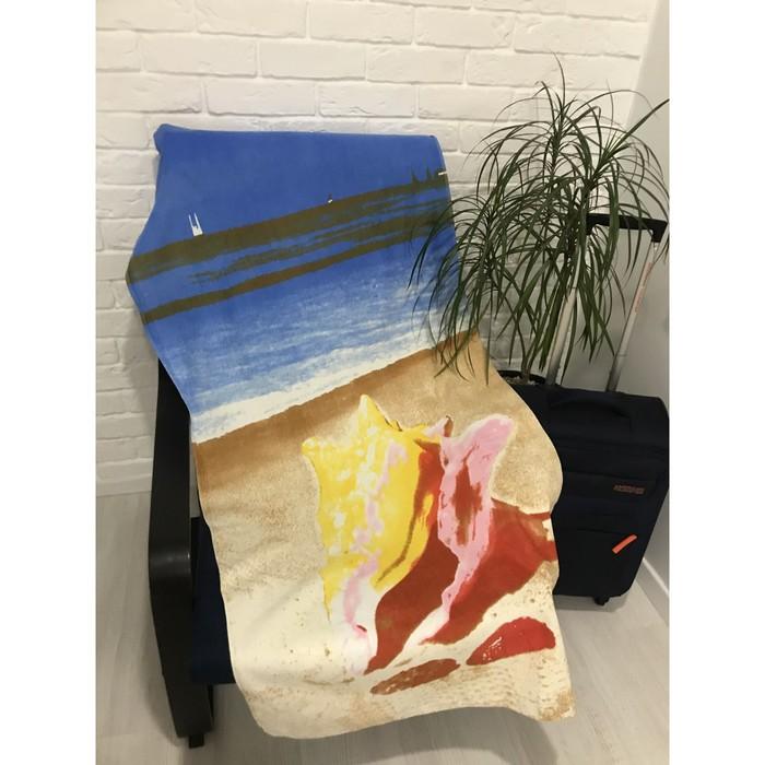Полотенце пляжное махровое ПАВЛИНА Ракушки 70х140 см, хлопок 100%