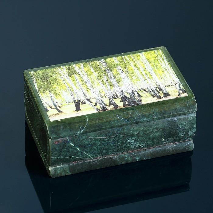 """Ларец """"Березовый Лес"""", с иллюстрацией под стеклом, змеевик"""