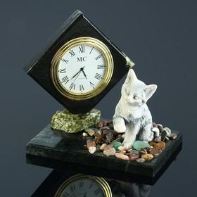 """Часы """"Кошка"""", змеевик, мрамолит"""