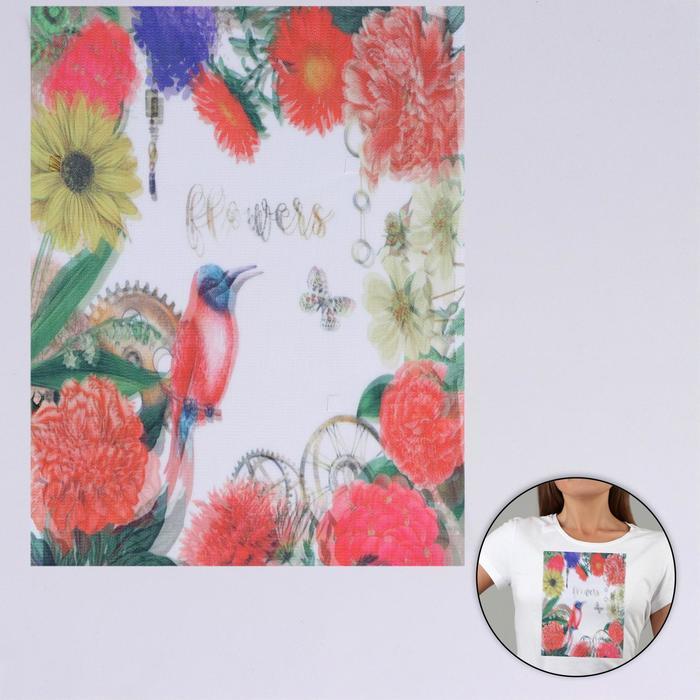 Пришивная аппликация «Flowers», 3D, 27 × 20 см - фото 690485