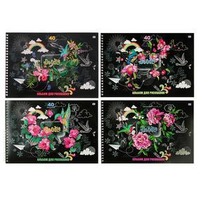 Альбом для рисования А4, 40 листов на гребне Doodle, обложка мелованный картон, блок 100 г/м², МИКС
