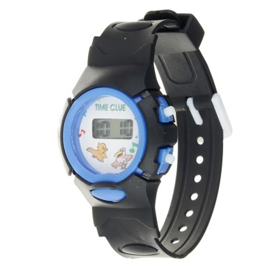 Watches: kids Junior electronic, silicone strap black, mix, l=20 cm