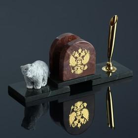 """Набор настольный """"Медведь с гербом"""", змеевик"""