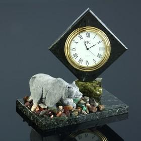 """Часы """"Медведь"""", змеевик, мрамолит"""
