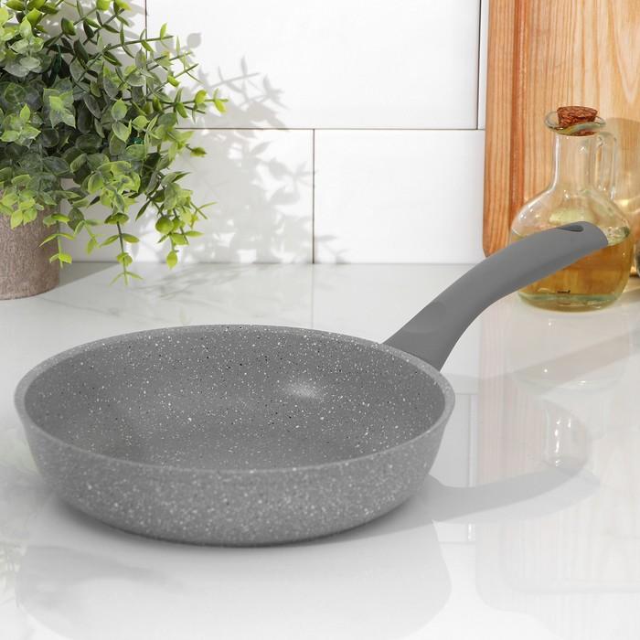 Сковорода 22 см, с ручкой, антипригарное покрытие, светлый мрамор