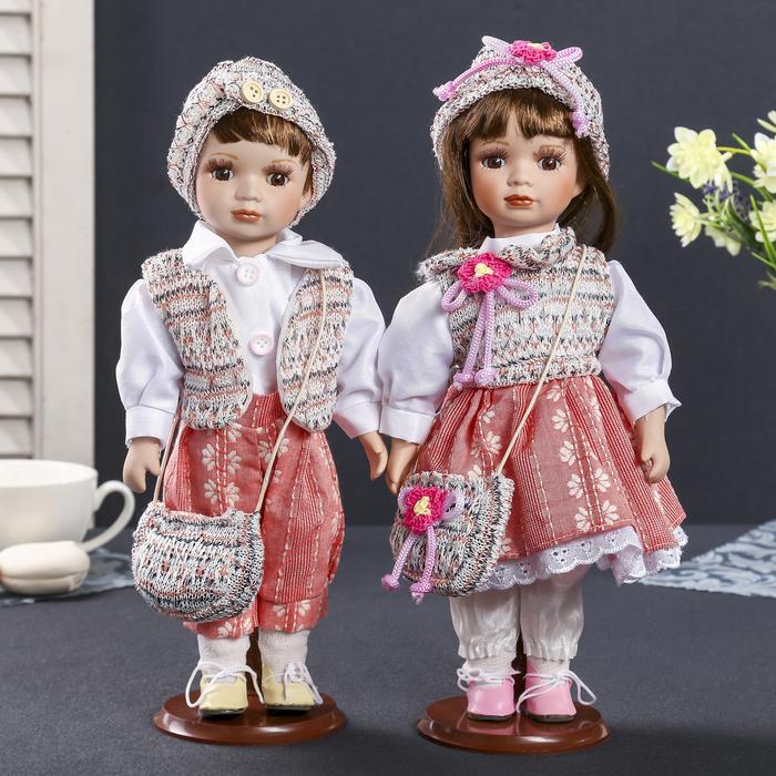 """Кукла коллекционная парочка """"Ева и Захар в пёстрых жилетках"""" (набор 2 шт) 30 см"""