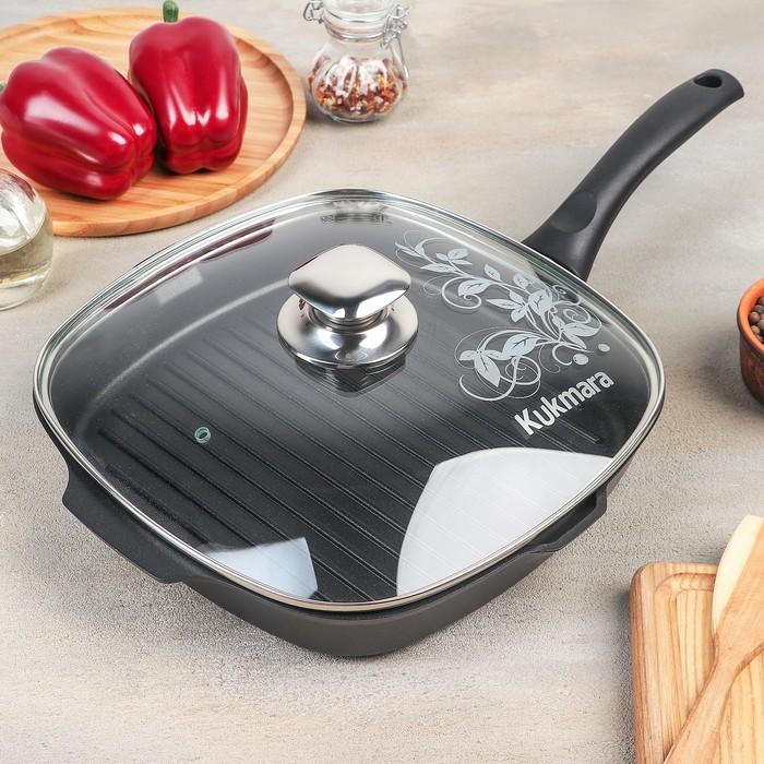 Сковорода-гриль «Традиция», 26×26 см, стеклянная крышка, антипригарное покрытие