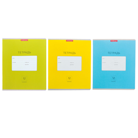 Notebook 12 sheets, ruler, Erich Krause Classic Bright, cardboard cover 170 g / m2, MIX