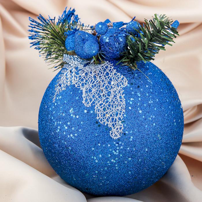 "Новогодний декорированный шар ""Синие звёздочки"""