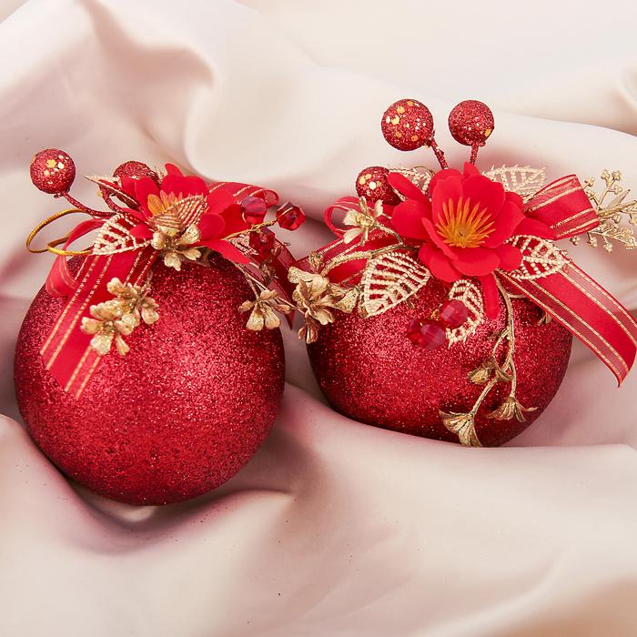 """Новогодние декорированные шары """"Красный цветок"""" (набор 2 шт.)"""