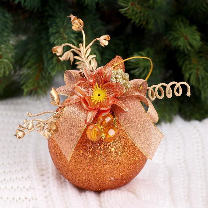 """Новогодние шары, декорированные """"Бронзовый цветок"""" (набор 2 шт.)"""