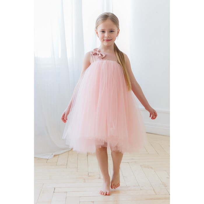 Платье нарядное для девочки MINAKU «Бантик», рост 104, цвет розовый