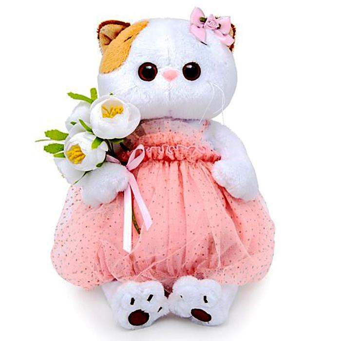Мягкая игрушка «Кошечка Ли-Ли» с белым букетом, 27 см - фото 728303269
