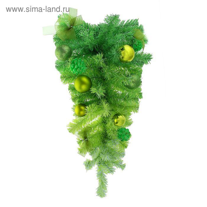 Елка декор зеленая настенная 60 см