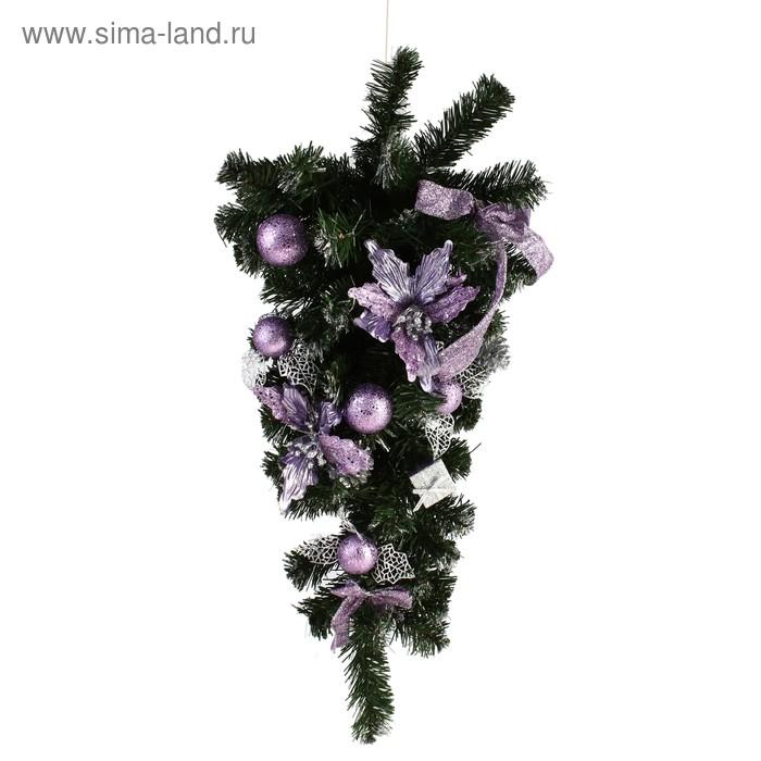 Елка подвесная настенная с фиолетовым декором