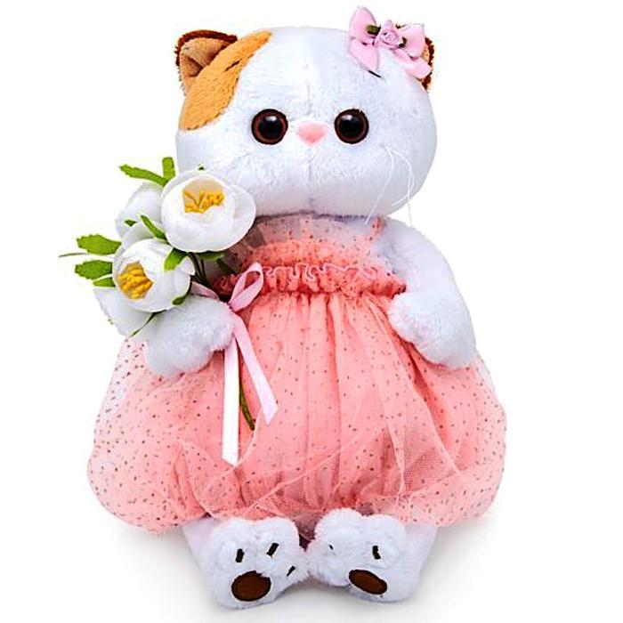 Мягкая игрушка «Кошечка Ли-Ли» с белым букетом, 15 см - фото 1060560