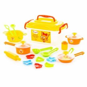 Набор посуды в контейнере «Три кота», 20 предметов