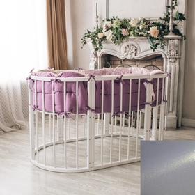 Кроватка-трансформер 6 в 1 MerryHappy круглая/овальная, лакиров. с жемчугом (металлик),белый   37851