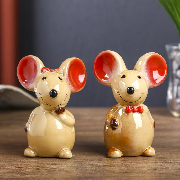 "Сувенир керамика ""Два мышонка"" набор 2 шт 10,5х7,5х5,5 см"
