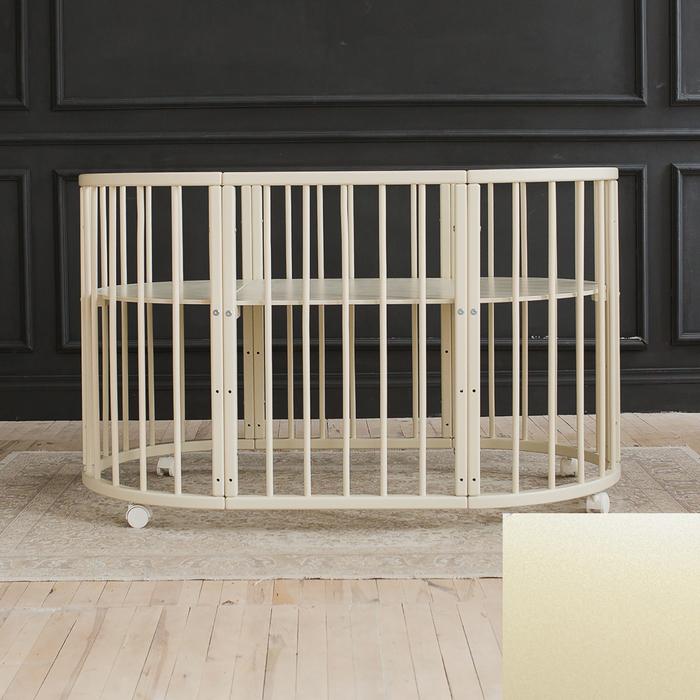 Кроватка-трансформер 6 в 1 MerryHappy круглая/овальная, лакиров., с жемчугом (металлик),слон.кость