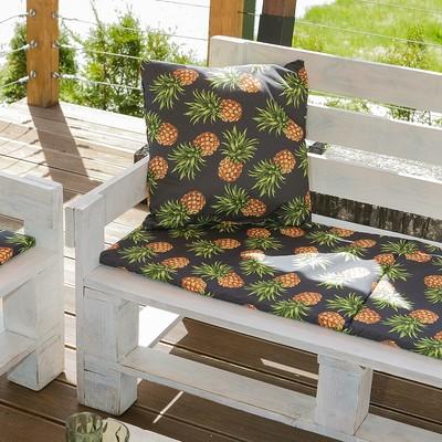 Декоративная подушка уличная Этель «Ананасы», 45 × 45 см, репс с пропиткой ВМГО, 100%-ный хлопок