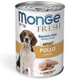 Влажный корм Monge Dog Fresh Chunks in Loaf для собак, рулет из курицы, 400 г