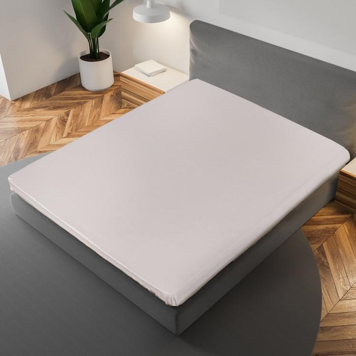Простыня «Этель» 215×240 см, цвет серый, 100% хлопок, мако-сатин, 125 г/м²