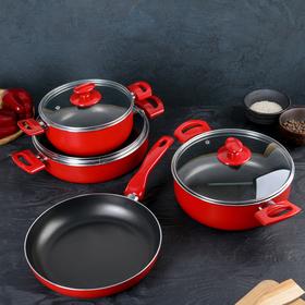 Набор посуды Redio, 4 предмета: сковорода 26 см, сотейник 4,2 л, кастрюли 2,5 л / 3,9 л