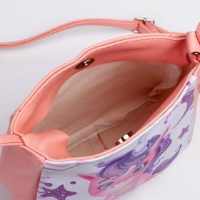 Сумка детская «Единорог», отдел на кнопке, цвет розовый