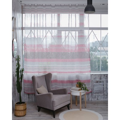 "Curtain drape ""Ethel"" 135×260 cm, Melange pink (horizontal stripe) W/o weighting"