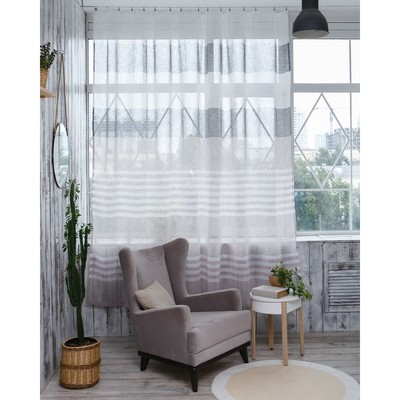 "Curtain drape ""Ethel"" 135×260 cm, Melange beige (horizontal stripe) W/o weighting,"