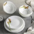 """Сервиз столовый """"Дивные каллы"""", 18 предметов: 6 тарелок 17,5 см / 23 см / 15х5 см"""