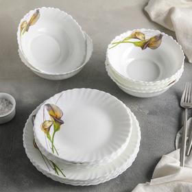 Сервиз столовый Доляна «Дивные каллы», 18 предметов: 6 тарелок d=17,5 см, d=23 см, 15×5 см