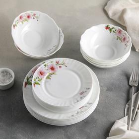 """Set of plates 18 PREV """"Floral melody"""" 6 plates 17.5 cm/23 cm/ 15h5 cm"""