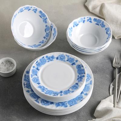 "Сервиз столовый ""Синий бриз"", 18 предметов: 6 тарелок 17,5 см / 23 см / 15х5 см"