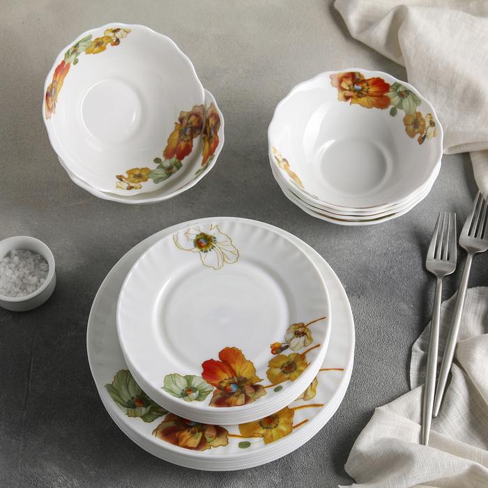 """Сервиз столовый """"Радужные маки"""", 18 предметов: 6 тарелок 17,5 см / 23 см / 15х5 см"""
