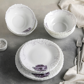 Сервиз столовый Доляна «Сиреневое блаженство», 18 предметов: 6 тарелок 17,5 см/23 см/15×5 см