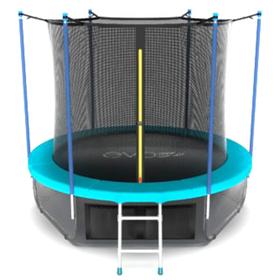 Батут EVO JUMP Internal 10 ft, d=305 см, с внутренней защитной сеткой и лестницей + нижняя защитная сеть, морская волна
