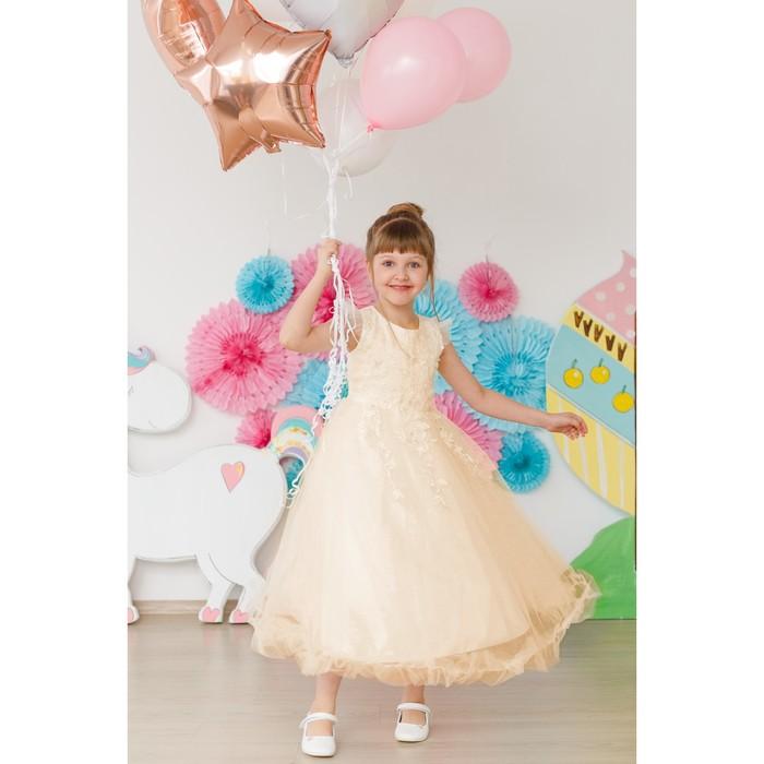 Платье нарядное для девочки MINAKU «Тиана», рост 110 см, цвет бежевый - фото 729943218