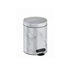 Ведро для мусора, 5л, рисунок мрамор, цвет белый