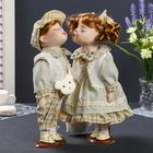 """Кукла коллекционная парочка поцелуй набор 2 шт """"Валя и Толя в светло-зелёных нарядах"""" 30см"""